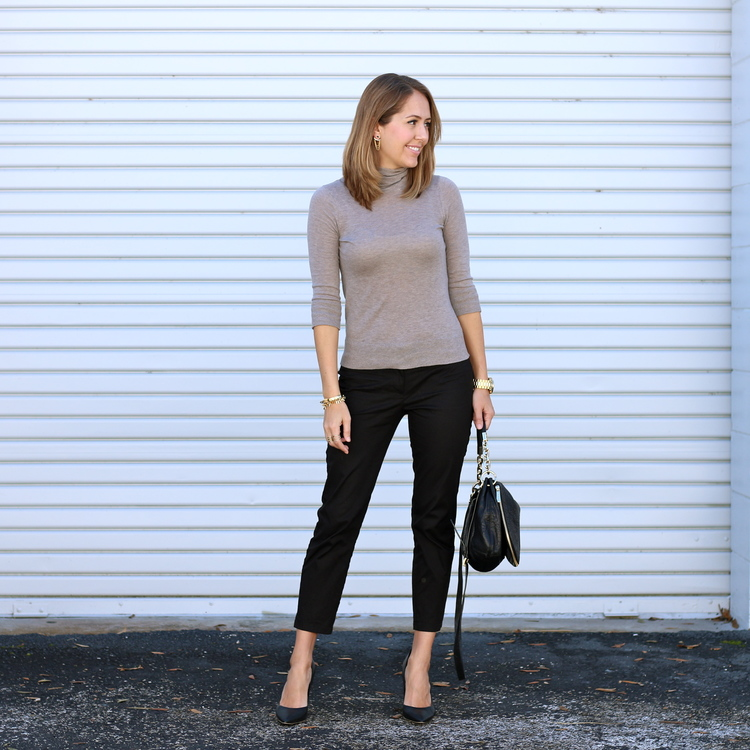 Lightweight turtleneck, black trousers